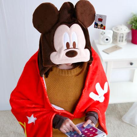 正版米奇披肩毯 帽毯 刷毛毯 保暖被 毛毯 懶人毯 冷氣毯 毯子 迪士尼【B061457】