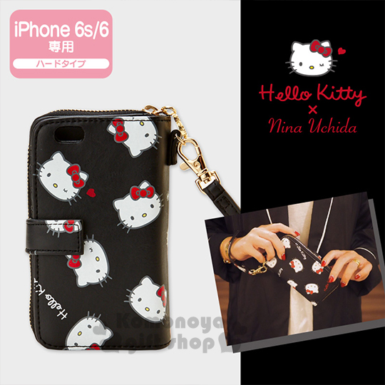 〔小禮堂〕Hello Kitty X Nina Uchida iPhone6S/6皮夾手機套《黑.大臉滿版》Life in Nina系列