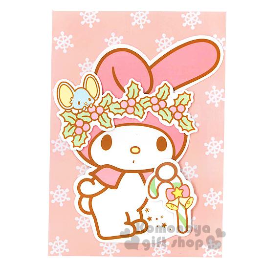 〔小禮堂〕美樂蒂 造型聖誕卡片《粉白.戴花圈.老鼠.聖誕拐杖》附信封