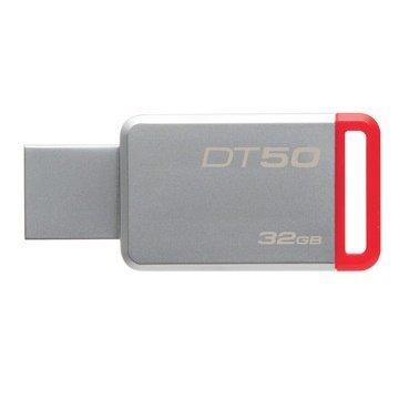 *╯新風尚潮流╭* 金士頓 隨身碟 DT50 USB 3.1 32G 紅標 無蓋式設計 金屬外殼 DT50/32GB
