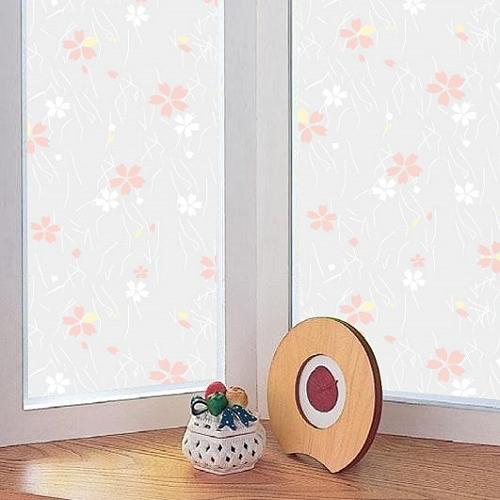 【零碼 40x91公分】日本MEIWA抗UV節能靜電窗貼 (日式小花)