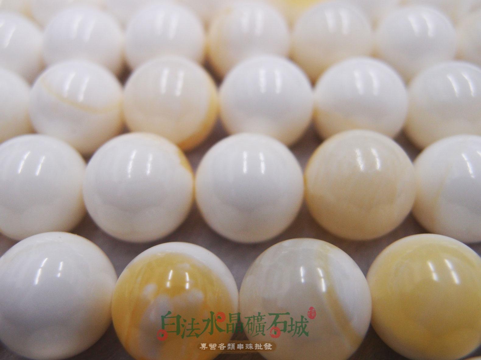 白法水晶礦石城        天然-金絲硨磲 14mm   金色色紋 珠子圓潤 串珠/條珠  首飾材料