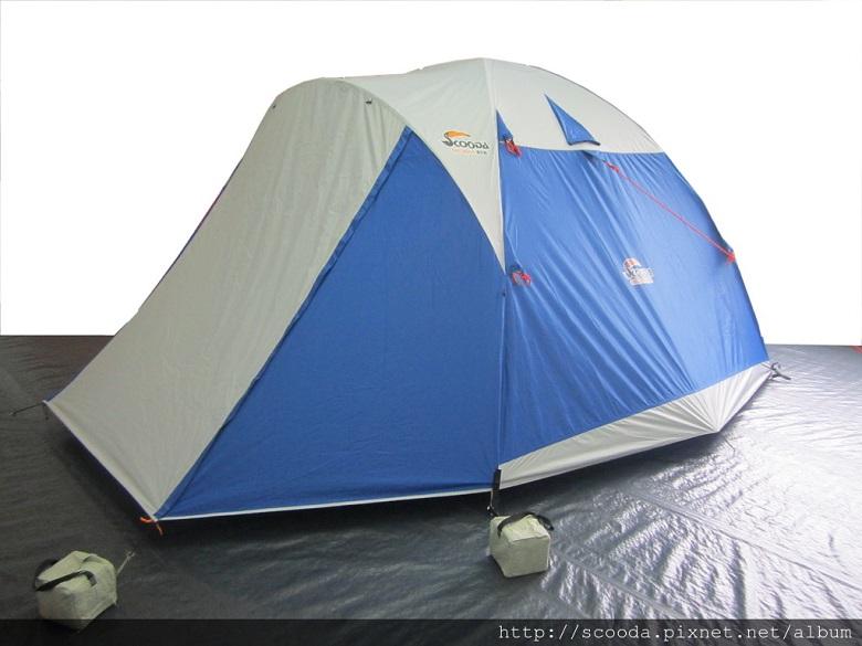 【【蘋果戶外】】速可搭 挪威森林 水藍 YK-001 Scooda 贈鋁箔墊防水地布 5~6人270x270銀膠帳篷 露營帳篷 六人帳篷 家庭帳篷