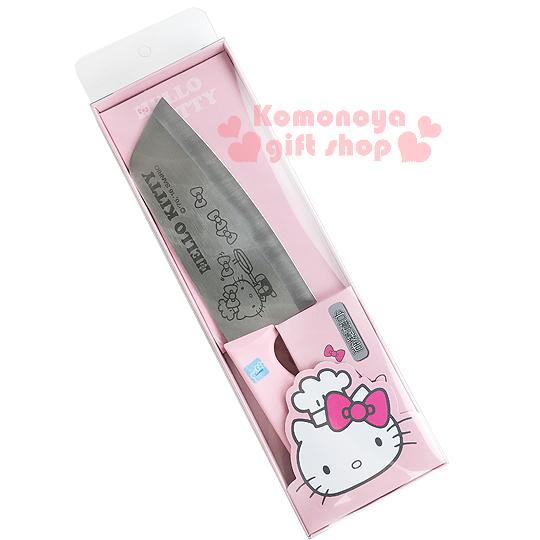〔小禮堂〕Hello Kitty 切片刀《粉紅.側坐.廚師帽.蝴蝶結》