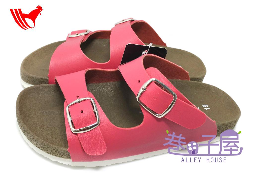 【巷子屋】ROOSTER公雞 童款經典勃肯二槓/條拖鞋 [2336] 桃 MIT台灣製造 超值價$198