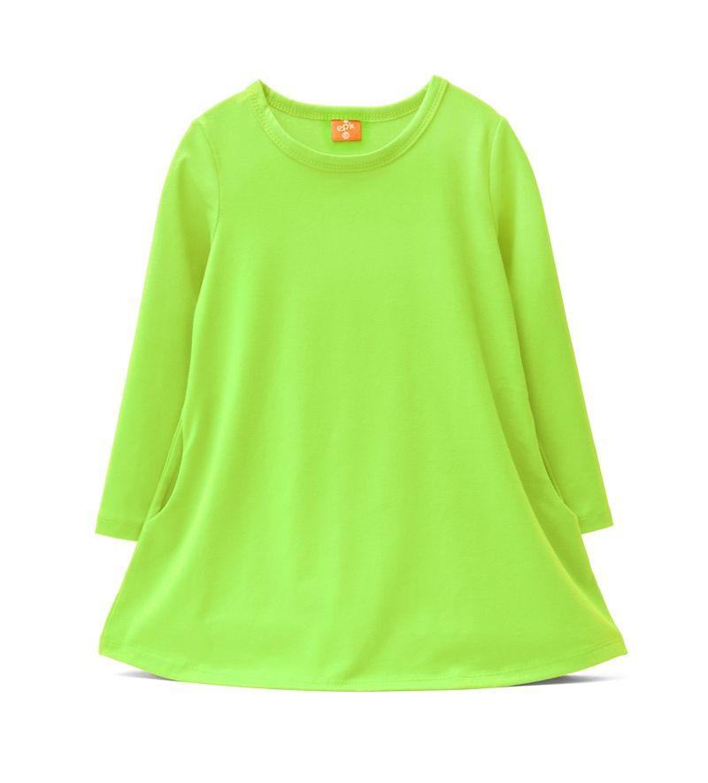 ☆傑媽童裝☆EPK小女生素色長版上衣/洋裝-綠色【87929-4】