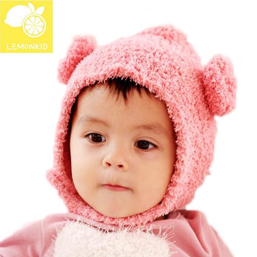 Lemonkid◆ 秋冬超萌小耳朵兒童加厚保暖寶寶帽純色捲毛羊護耳帽-粉色