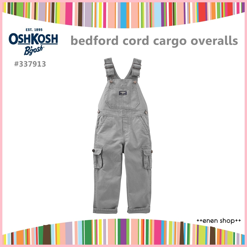 Enen Shop @OshKosh B'gosh 灰色款口袋工作吊帶褲∥12M/18M/24M/2T/3T/4T