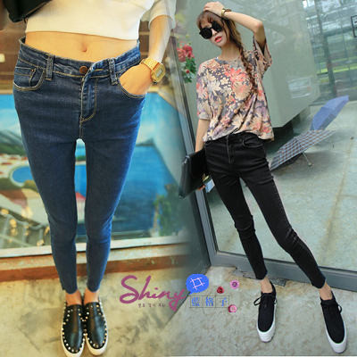 【V0478】shiny藍格子-修身比例.彈力顯瘦修身小腳緊身牛仔褲