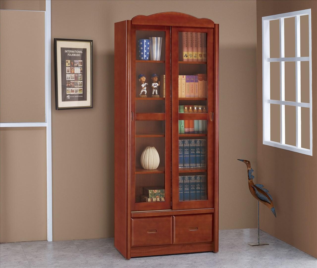 【石川家居】EF-254-5 楓原柚木色2.7尺推門書櫃 (不含其他商品) 需搭配車趟