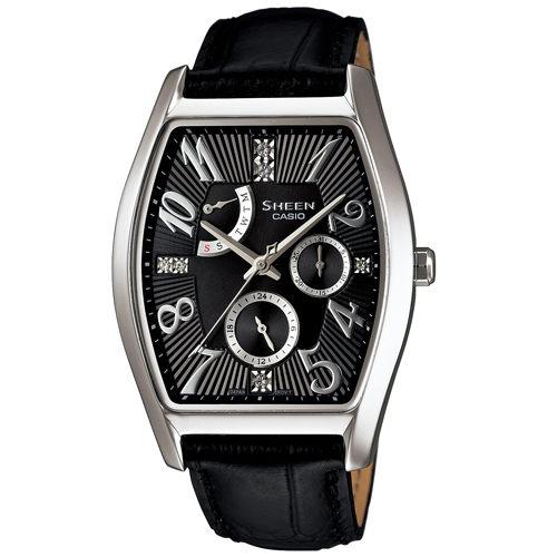 CASIO SHEEN SHE-3026L-1A典雅酒桶多功能流行腕錶/黑色46*34mm