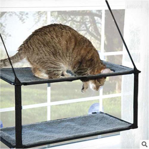 《美國K&H》WINDOWS 貓咪雙層玻璃吸盤爬架/貓窩/掛床