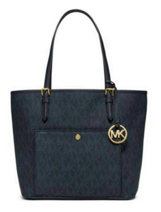 【MICHAEL KORS】正品 MK時尚經典logo防刮pvc皮革肩背托特包深藍色