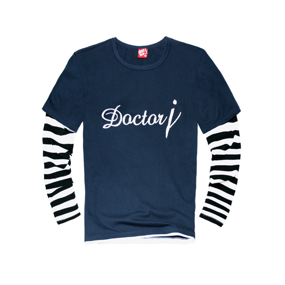 DoctorJ 接袖條紋長T 深藍 (黑) (男/女款皆有)