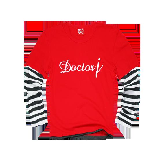 DoctorJ 接袖條紋長T 紅 (深灰) (男/女款皆有)