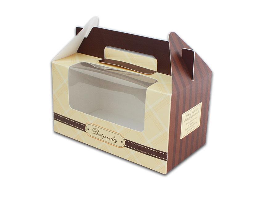 外帶盒、包裝盒、手提盒  2格提盒 MS-2-C(咖色黃格)5 pcs附底托