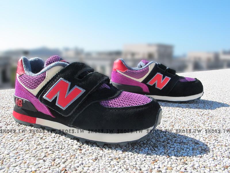 《超值6折》Shoestw【KV574K1Y】NEW BALANCE 574 童鞋 運動鞋 中童 黑紫 麂皮 萬聖節