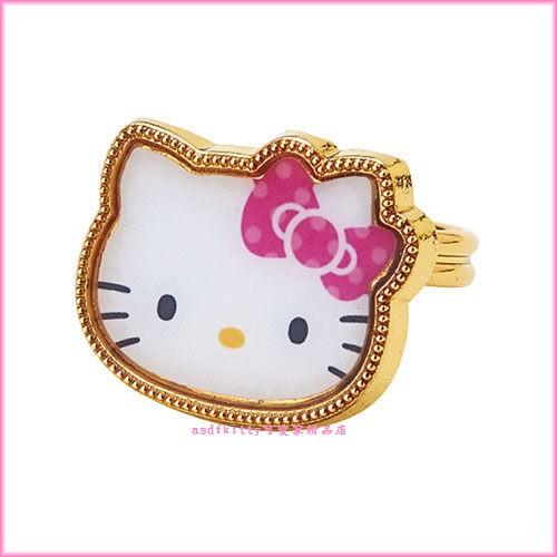 asdfkitty可愛家☆KITTY兒童用金屬戒指-戒圍可調整-日本正版商品