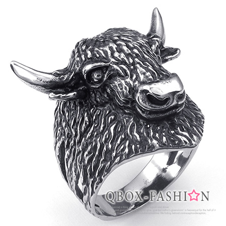 《 QBOX 》FASHION 飾品【W10024813】精緻個性犛牛頭造型鑄造316L鈦鋼戒指/戒環