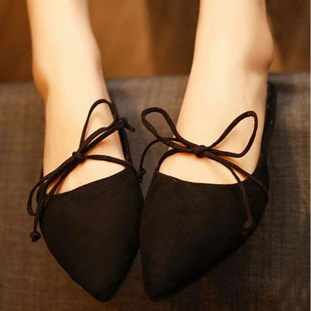 拖鞋 隨興蝴蝶結綁帶尖頭懶人鞋【S1579】☆雙兒網☆