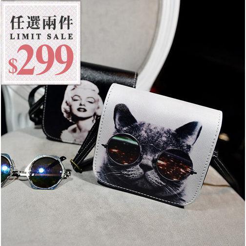 圖騰側背包-貓咪人物系列6種圖案迷你款小方側背包【AN SHOP】