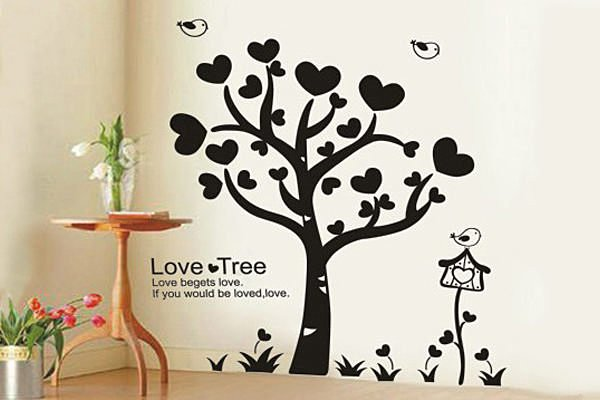 BO雜貨【YP1665】可移動DIY創意壁貼 牆貼 背景貼 磁磚貼 壁貼樹 居家佈置 愛心樹-黑