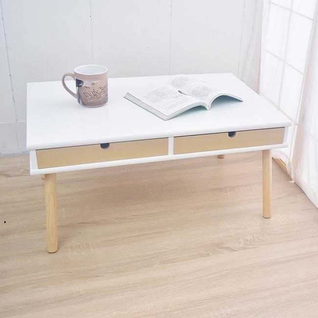 凱堡 雙抽屜實木腳 TV電視櫃 和室桌 茶几桌(原木白) H10013