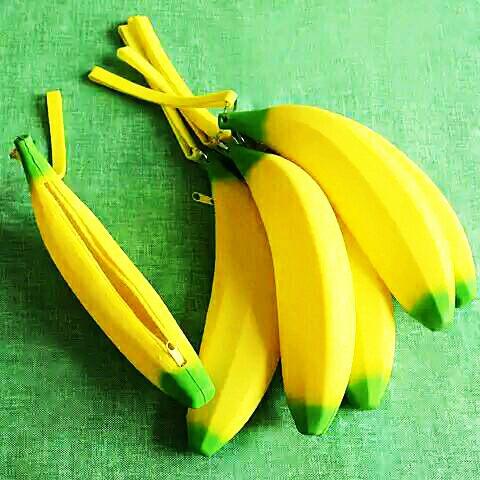 小熊日系* 香蕉 筆袋 萬用袋 收納袋 香蕉造型果凍矽膠筆袋 萬用袋 收納袋 零錢包