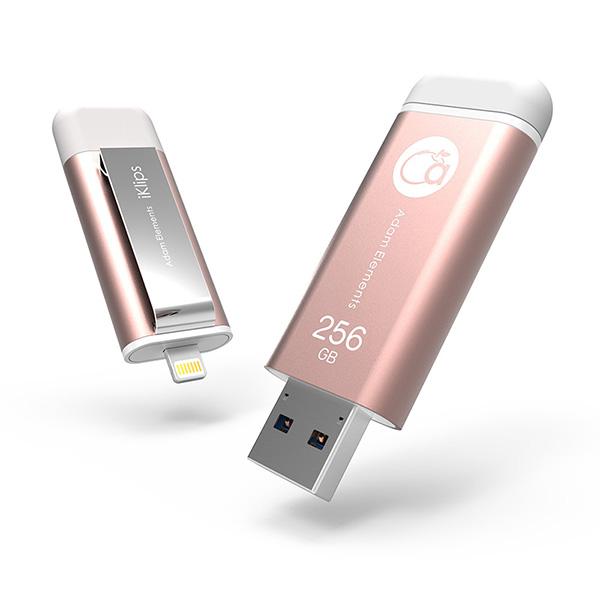 【亞果元素】iKlips iOS系統專用USB 3.0極速多媒體行動碟 256GB 玫瑰金