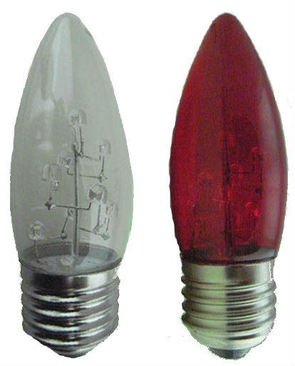 LED 燈泡★LED E27 1W 大尖清 小夜燈 神明燈 蠟燭燈 清光/紅光★永旭照明ZG2-15W110LED-E27-2RC%