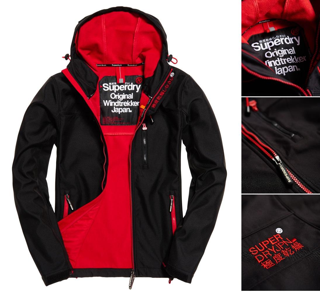 【男款】極度乾燥 Superdry Windtrekker連帽防風衣軟夾克 風衣 連帽 外套 防風 保暖 黑色/叛逆紅
