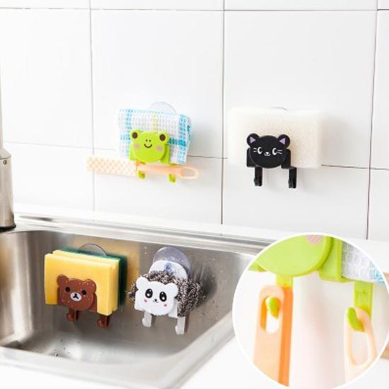 ♚MY COLOR♚卡通掛鉤收納支架 海綿 懸掛 瀝乾 吸盤 吸附 衛生 清潔 水槽 洗漱 牙刷架【L160】