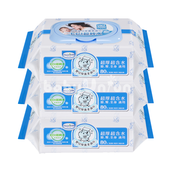 Baan 貝恩 - 嬰兒保養柔濕巾 -EDI無香料 Baby Wipes 80抽 3包/串 (新新包裝)