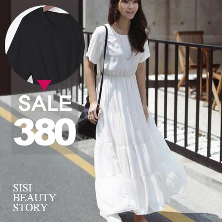 SISI【D6109】波西米亞風清新甜美縮腰顯瘦短袖雪紡層次蛋糕大襬連身裙洋裝
