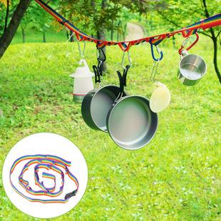 【露營趣】中和 TNR-131 露營野營吊物繩 彩虹掛物繩 U型掛繩 附收納袋 掛物繩 曬衣繩 U型繩 曬衣繩