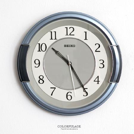 SEIKO精工掛鐘 獨特銀藍粗框設計 簡約數字雙圈時鐘 提升居家生活 柒彩年代【NE1616】原廠公司貨