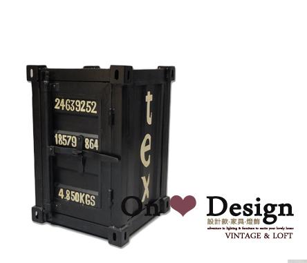 On ♥ Design ❀ LOFT 工業家具 RH風格 貨櫃 集裝箱收納櫃 邊櫃 床頭櫃MINI版 - 黑