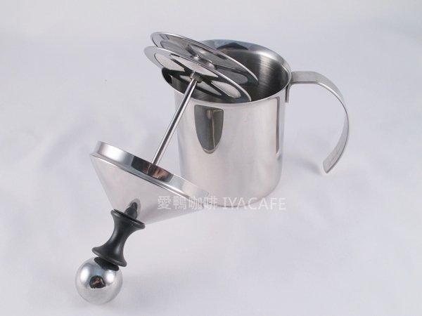 《愛鴨咖啡》雙層 不銹鋼 手動 奶泡器 發泡器 400cc