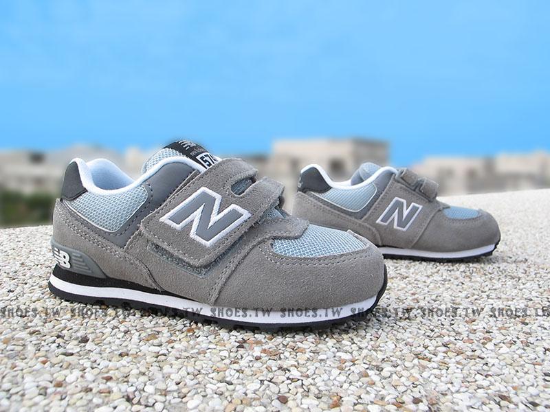 Shoestw【KV574CII】NEW BALANCE 574 小童鞋 運動鞋 灰色 麂皮 黑底