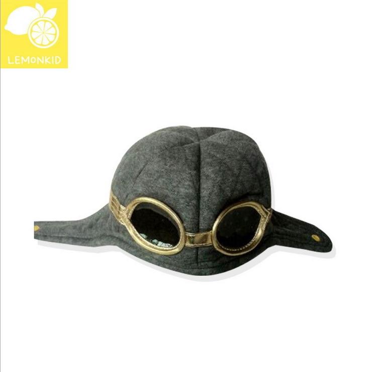 Lemonkid◆冬季可愛保暖飛行員眼鏡造型帽兒童帽冬帽-灰色