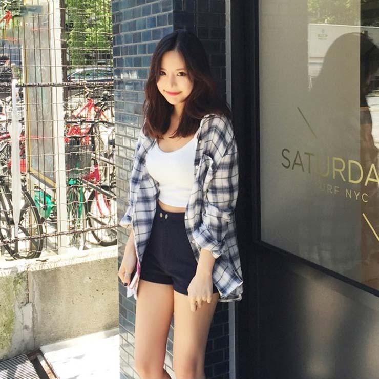 PS Mall 韓版寬鬆格子大尺碼防曬外套長袖襯衫【T2235】