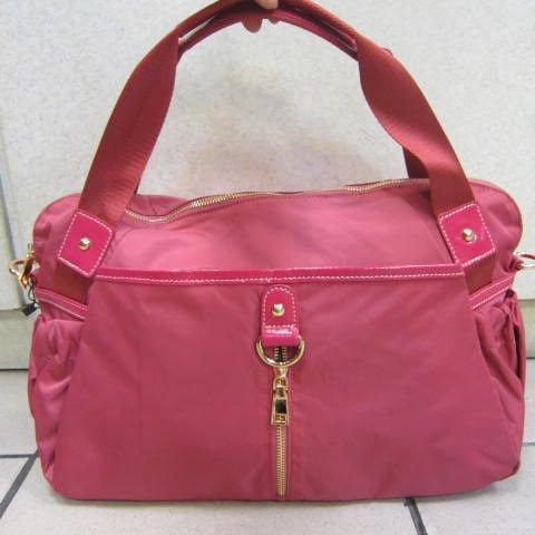 ~雪黛屋~en.so.en小型旅行袋 可手提可肩背可斜側背進口降落傘防水尼龍布好收納#65056粉紅