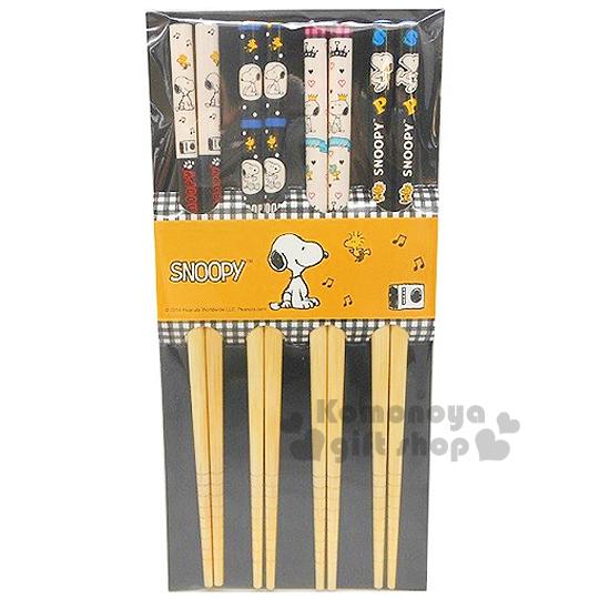 〔小禮堂〕史努比 天然竹筷子《4雙.黑白.收音機/點點/愛心/字母》