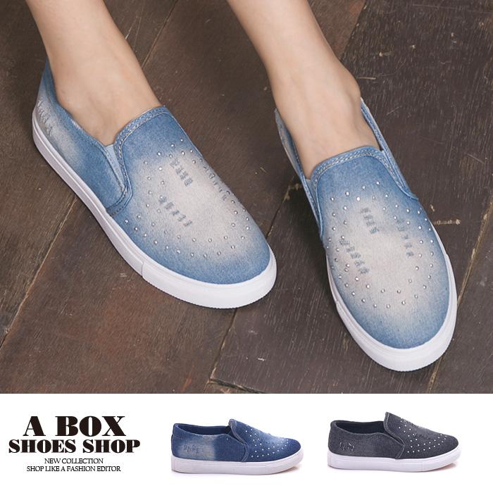 格子舖*【AW106】簡單經典牛仔布刷白刷破 奢華低調水鑽 鬆緊穿拖 布面/帆布鞋 懶人鞋 3色