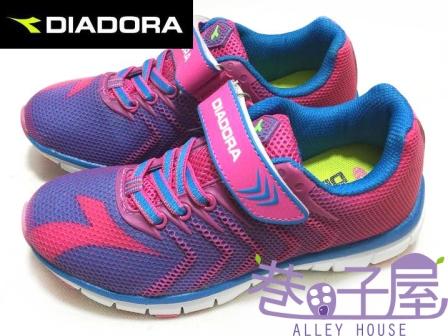 【巷子屋】義大利國寶鞋-DIADORA迪亞多納 女童KPU一體成型鯊跑鞋 [2052] 桃 超值價$498