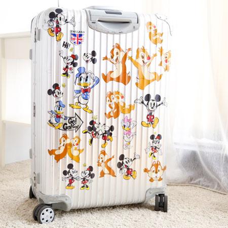 正版迪士尼行李箱裝飾貼紙(12枚入) 行李箱貼紙 米奇 史迪奇 公主 奇奇蒂蒂 維尼 三眼怪 唐老鴨【B061336】