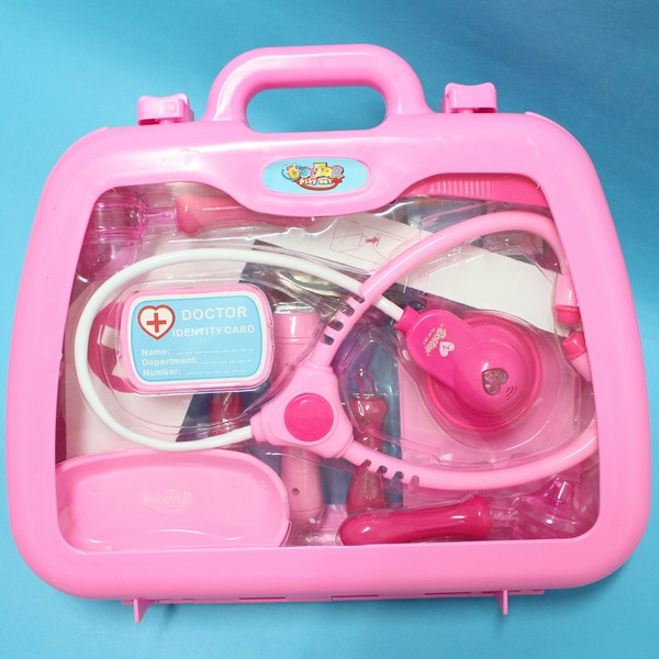 寶寶醫護組 (紅色)手提箱護士醫生遊戲玩具組 附針筒聽診器 手提醫生組/一個入{促350}~創I-4777