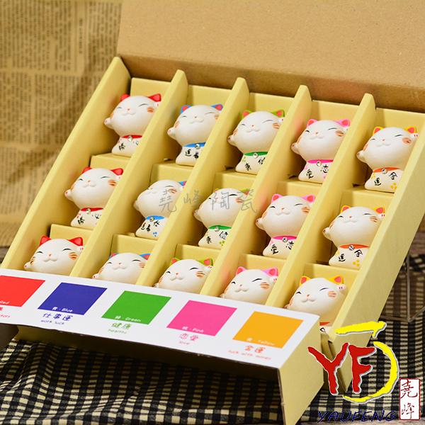 ★堯峰陶瓷★日本進口陶瓷公仔 迷你手繪招財貓 擺飾品 療癒小物 15入