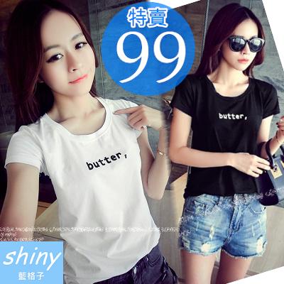 【V0447】shiny藍格子-春之隨性.butter字母圓領短袖T恤