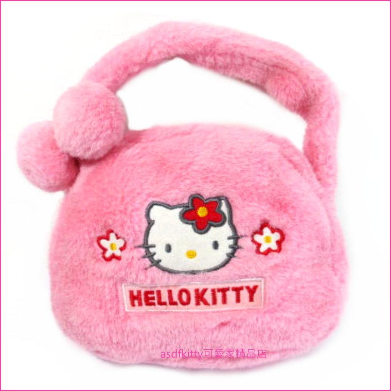 asdfkitty可愛家☆賠錢出清特價-kitty粉絨手提包/化妝包/手提袋/小物收納袋-日本正版